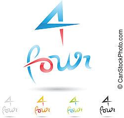 komplet, barwny, ikony, abstrakcyjny, liczba 3, 4