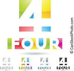 komplet, barwny, ikony, abstrakcyjny, liczba 4, 2