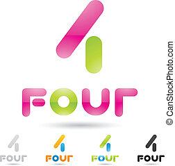 komplet, barwny, ikony, abstrakcyjny, liczba 4, 5