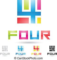 komplet, barwny, ikony, abstrakcyjny, liczba 4, 6
