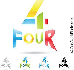 komplet, barwny, ikony, abstrakcyjny, liczba 4, 7