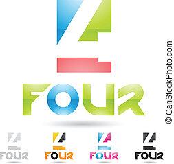 komplet, barwny, ikony, abstrakcyjny, liczba 4, 9