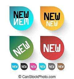 komplet, barwny, ikony, etykiety, -, wektor, nowy