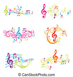 komplet, barwny, notatki, -, ilustracja, wektor, muzyczny