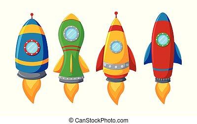 komplet, barwny, rakieta, odizolowany, tło, biały