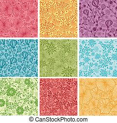 komplet, barwny, tła, seamless, wzory, dziewięć, kwiaty