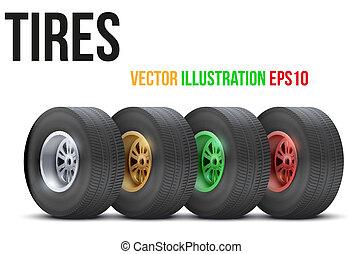 komplet, barwny, wóz, ilustracja, lekkoatletyka, wektor, wheels.