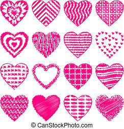 komplet, bazgrać, serce, valentine