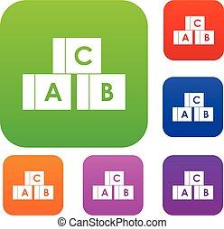 komplet, beletrystyka, niejaki, alfabet, zbiór, kostki