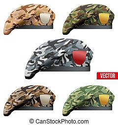 komplet, beret, camo, wojska, wojskowy, szczególny