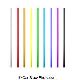 komplet, beverage., barwny, odizolowany, ilustracja, słoma, wektor, straws., tło, picie, biały