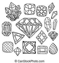 komplet, biżuteria, doodle, ręka, wektor, pociągnięty