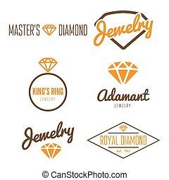 komplet, biżuteria, rzeźnik, logotype, emblemat, elementy, etykieta, druk, albo, logo