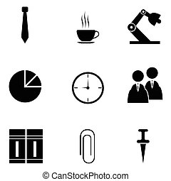 komplet, biuro, ikona