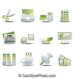 komplet, biurowe ikony