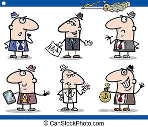komplet, biznesmeni, litery, rysunek