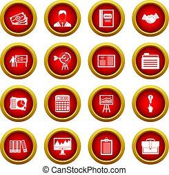 komplet, biznesplan, koło, czerwony, ikona