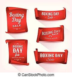 komplet, boks, sprzedaż, dzień, chorągwie, pergamin
