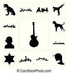 komplet, bokser, wizerunek, tło, dawid, seattle, ikony, denver, róg, gandhi, paweł, biały, sylwetka na tle nieba, gwiazda, pittsburgh, francuski, vegas, las, pies, sylwetka na tle nieba, les
