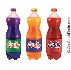 komplet, butelka, napój, miękki
