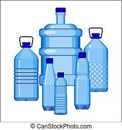 komplet, butelki, woda, różny, biały, rozmiar