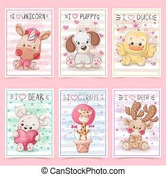 komplet, card., teddy, idea, animals., powitanie