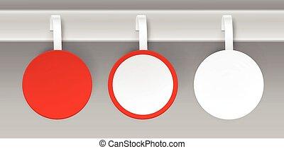 komplet, cena, plastyk, papier, czysty, wobbler, biały czerwony