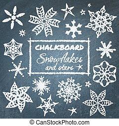 komplet, chalkboard, płatki śniegu