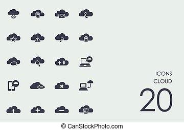 komplet, chmura, ikony