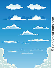 komplet, chmury, rysunek
