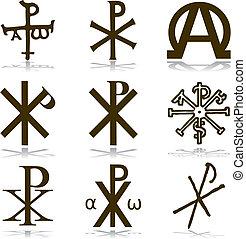 komplet, chrześcijanin, vector.