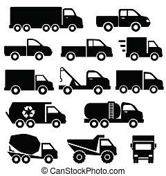 komplet, ciężarówki, ikona