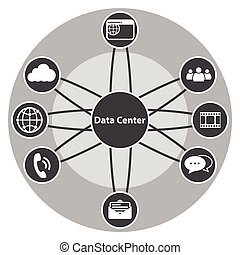 komplet, cielna, dane, scentralizowany, ikona