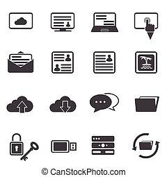 komplet, cielna, ikona, dane, internet