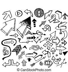 komplet, cielna, strzały, różny, doodle, czarnoskóry