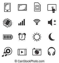 komplet, cielna, telefon, ruchomy, dane, ikona