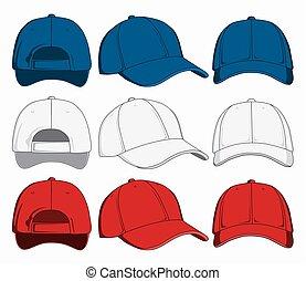 komplet, czapki, wstecz, ilustracja, przód, wektor, baseball, prospekt., bok