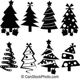 komplet, czarnoskóry, drzewa, icons., boże narodzenie