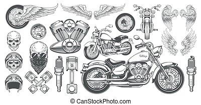 komplet, czaszki, ikony, rocznik wina, ilustracje, wektor, różny, motocykl, wędki, skrzydełka