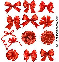komplet, dar, cielna, schyla się, wektor, wstążki, czerwony