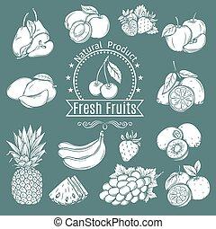 komplet, dekoracyjny, owoce, i, jagody