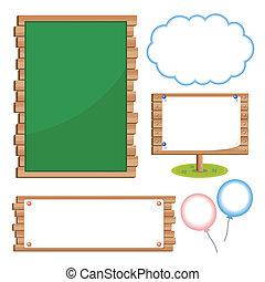 komplet, deska, szkoła, tablice