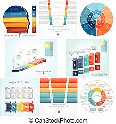komplet, diagram, piątka, infographics, 8, steps., szablony