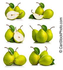 komplet, dojrzały, liście, gruszka, zielony, owoce
