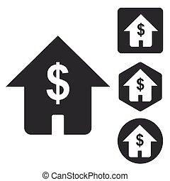 komplet, domowa ikona, dolar, monochromia