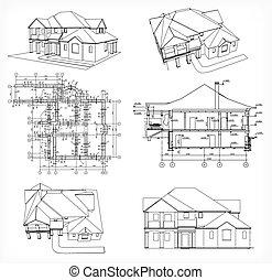 komplet, domy, i, blueprint., wektor