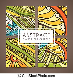 komplet, doodle., barwny, patterns., cztery, wektor, zentangle, zawiły