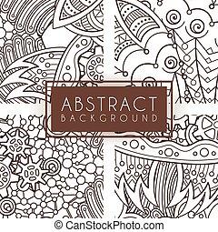 komplet, doodle., patterns., cztery, wektor, zentangle, zawiły