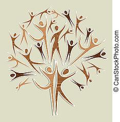 komplet, drewniany, drzewo, diversit, ludzki, y