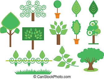 komplet, drzewa, roślinność